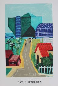 "After David Hockney, (Born 1937) ""Hancock st, west Hollywood I, 1989"" A poster published by Mirage editions Signed in pen 91.5 x 61cm. Sold for £370 at Anthemion Auctions"