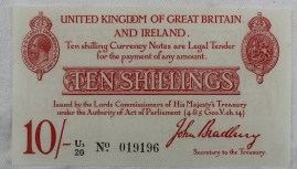 A United Kingdom of Great Britain and Ireland Ten Shillings note, John Bradbury, Secretary to the Treasury, T13, U1/20 No.019196. Sold for £300 at Anthemion Auctions
