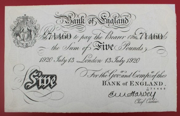 "22nd August Fine Sale - Collector's Lot 181. A Bank of England white Five Pounds note, ""1920 July 13 London 13 July 1920"" No. A36 71460, E.M Harvey chief cashier"