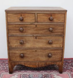 A 19th century mahogany chest, with a rectangular crossbanded top with a reeded edge above a pair of short drawers and three long graduated drawers on splayed bracket feet, 85cm wide x 46cm deep x 99cm high. Sold for £110 at Anthemion Auctions