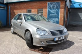 A Mercedes C180 Kompressor Elegance SE, four door saloon, petrol, in silver, 1796cc, first registered 30-11-2004, Mot valid until 14th June 2019 estimated mileage approximately 30000tration number CV13 WFX