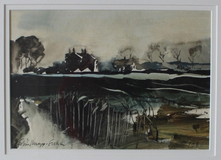 Sold for £800. John Knapp Fisher, Cottages in a landscape, Watercolour, Signed and dated 1986,15.5 x 22.5cm