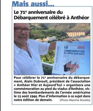 VM 14 Août 2015. Annonce de la commémoration du 15 Août.