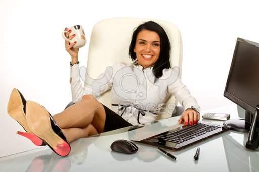 office-worker--secretary-drinking-coffee