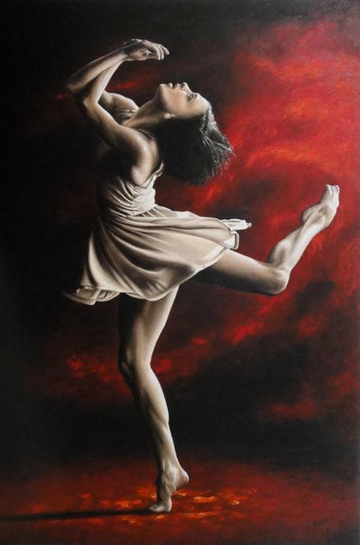 Emotional Awakening fine art contemporary modern dance oil painting - Malgorzata Dzierzon