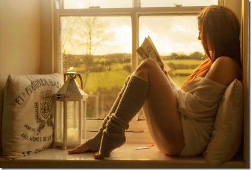 Woman Reading Book in Rain.4