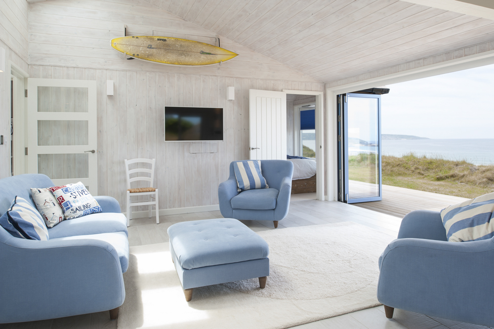 Blue and white interior of a luxury beach house in Hayle, Cornwall for Forever Cornwall