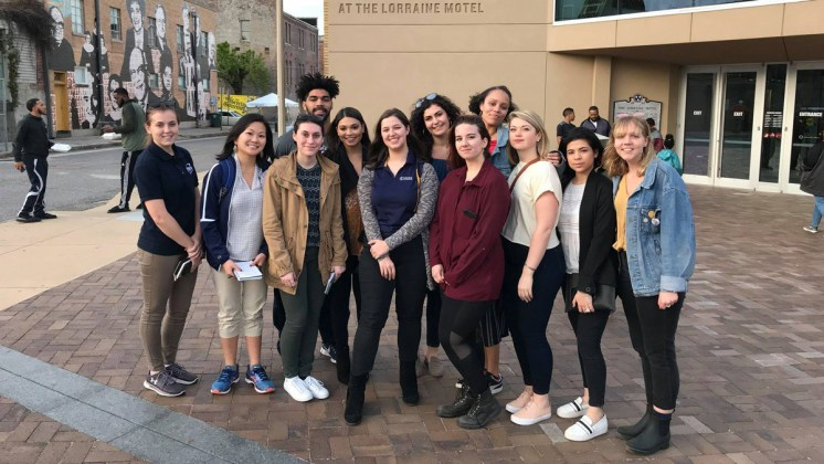 Ithaca College journalism students traveled to Memphis to cover the commemoration of the 50th anniversary of MLK's assassination. (Photo by Sydney Matzko)
