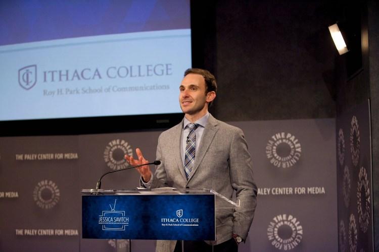 Professor Anthony Adornato speaks at event in NYC.