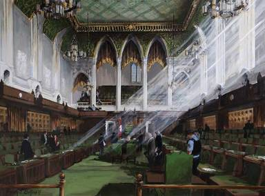 "House of Commons Chamber, Ottawa (looking towards the Speaker's chair) | 36"" x 48"" acrylic on canvas 