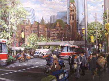 "Queen Street West at York with Old City Hall | 36"" x 48"" acrylic on canvas 