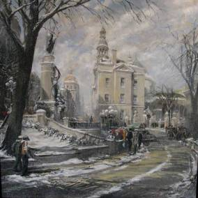 "Snow Flurries in Old Quebec (The Laval monument and the cathedral from Cotes de la Montagne) | 40"" x 40"" acrylic on canvas 