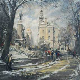 "Snow Flurries in Old Quebec City | 40"" x 40"" acrylic on canvas"