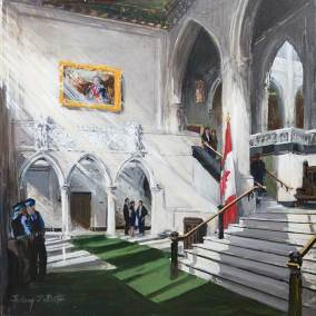 "The Lower Foyer of the House of Commons | 30"" x 30"" acrylic on canvas"