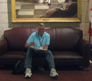 Tony drawing in the comfort of the Senate's Foyer.