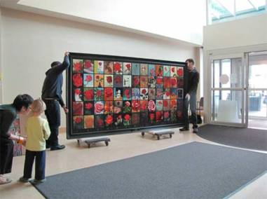 65 Roses Project | Installing the painting in Vancouver.