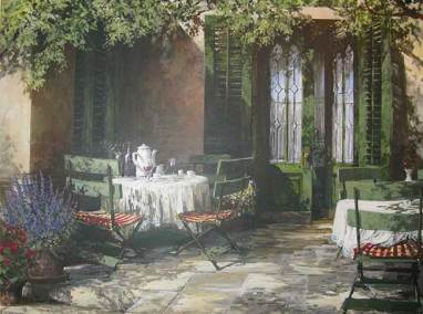 "Cafe Versailles, France | 36"" x 48"" acrylic 