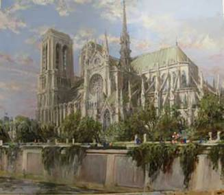 "The Isle de la Cite, Notre Dame Cathedral, Paris | 36"" x 42"" watercolour 