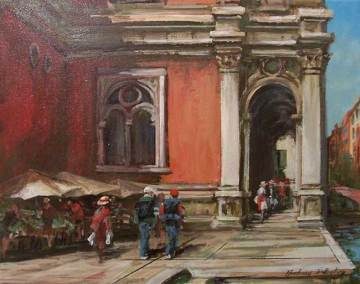 "Market Stalls, Behind the Sculo Grande di St. Rocco, Venice |  16"" x 20"" acrylic on canvas 