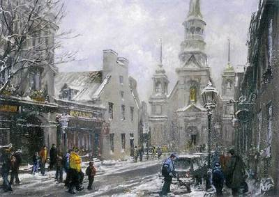 "Old Chapel, La Vielle Chapelle | 18"" x 24"" acrylic on canvas. This painting of the Chapel of                 Notre-Dame de Bonsecours in Old Montreal was featured on a 2009 Christmas card by the TPH Charitable Office as a part of their annual fund raising on behalf of Canadian charitable foundations."