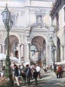 "Piazza Mercanti, Milan | 48"" x 36"" acrylic on canvas 