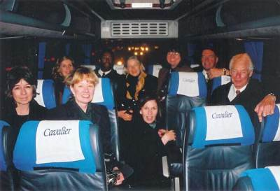 December, 2001. Prince Charles' guests leaving Highgrove to return to London. Left to Right: E. J. Hunter, Diana Jervis-Reed, Linda Kemp, Neville Clarke, Ruth Sawatsky, Wendy Hoffman, Vivien Thierfelder, Tony Batten, Ross Munk. Photo by Jean Pederson.