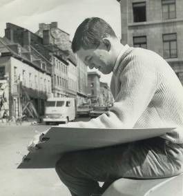 1965. Tony sketching in Old Montreal.