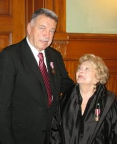 December 13, 2012. Diamond Jubilee Medal recipients. Tony with famed actress Shirley Douglas.