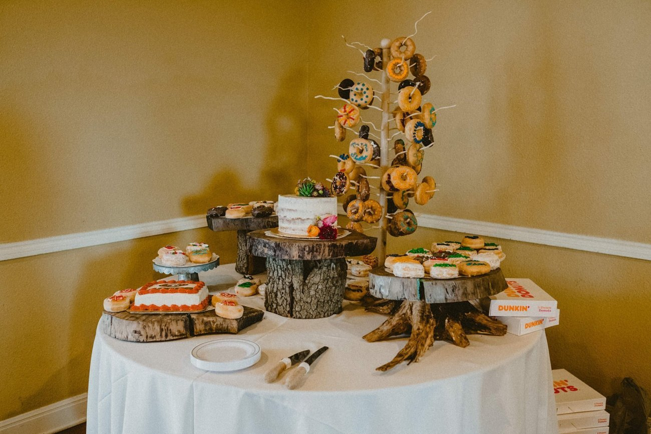 wedding cake and donut table