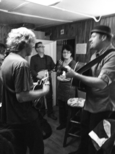 Stephen Mougin, Sam Bush, Ned Luberecki Backstage at the Station Inn
