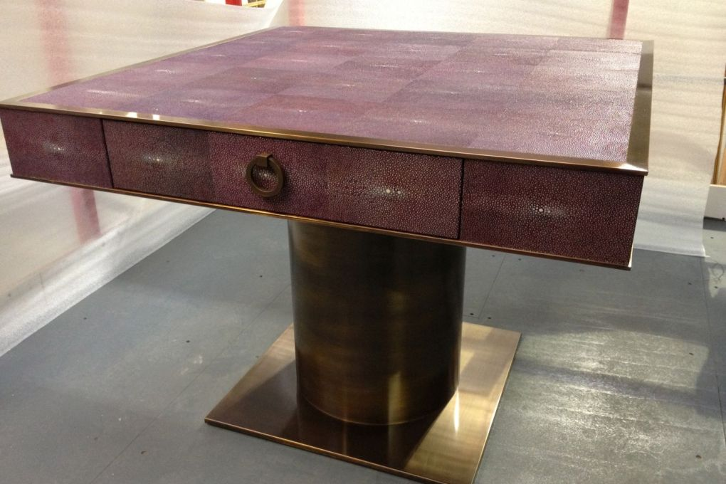 Centre Table or Side Table in Patinated Brass and Amethyst Shagreen with a Single Drop Ring Handle-gallery