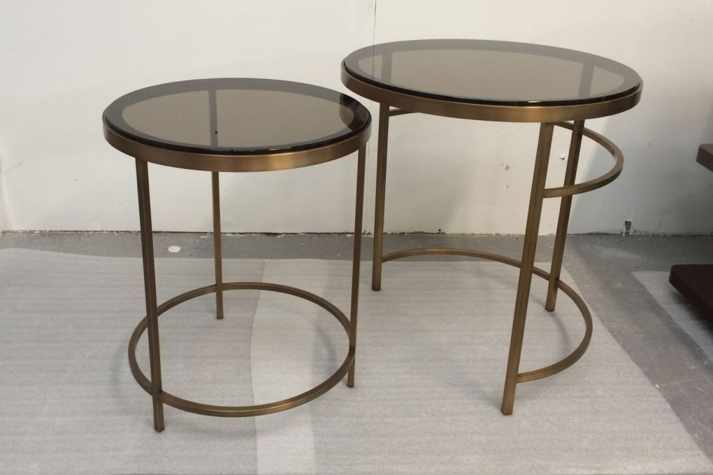 Circular Nesting Side Table Drinks Tables in Brass with Bronze Tinted Glass i-gallery