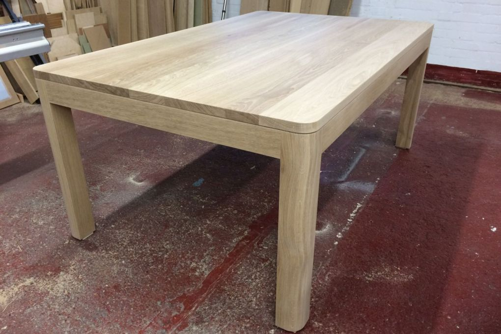 Contemporary Solid Oak Kitchen Dining Table Made to fit our Clients Space-gallery