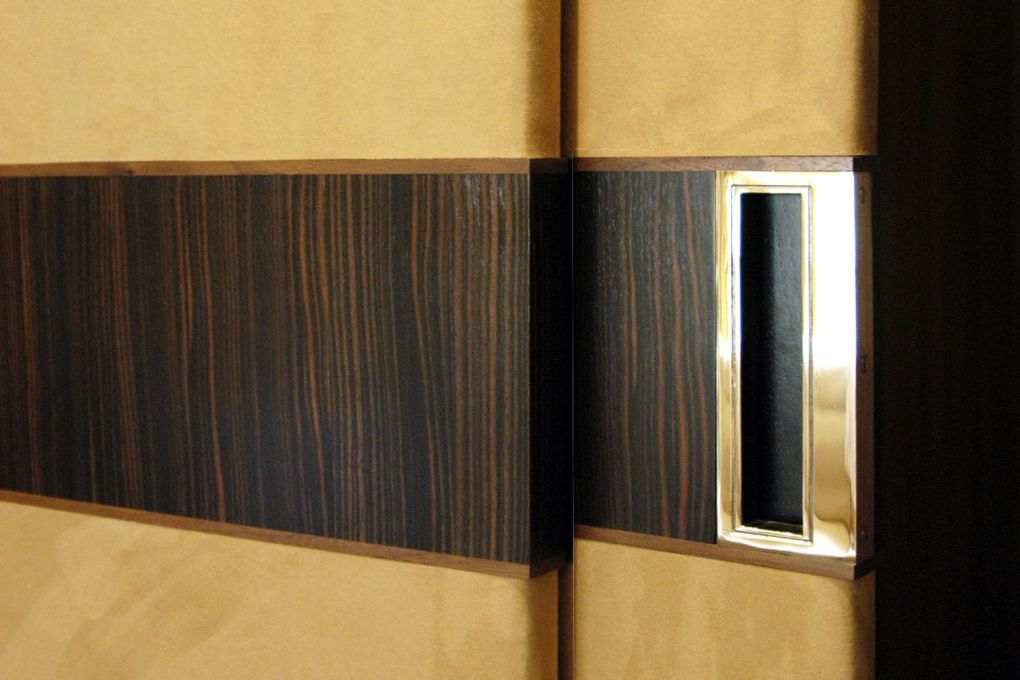 Detail of Polished Nickel Handle Recessed into Suede Covered Doors with Ebony and Walnut Crossbanding-gallery