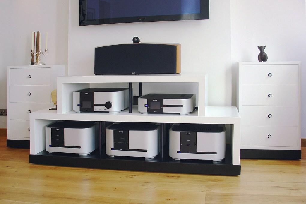 Hi Fi Audio Cabinet in White Lacquer Anodised Aluminium and Black Laminate