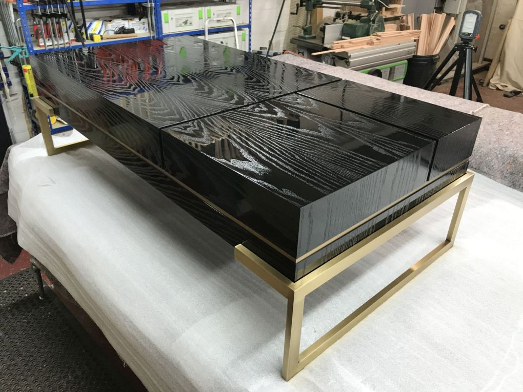 Low Table in Black Gloss Open Grain and Patinated Brass-gallery