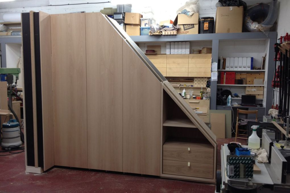 Oak Wardrobe with Sloping Side and End Return Fully Fitted Bedroom Furniture and Custom Made Joinery -gallery
