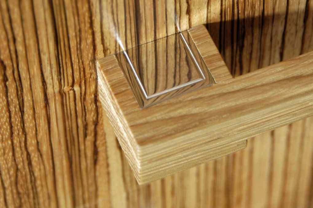 Solid Oak and Polished Nickel Inlayed Handle Detail with Zebrano Drawer Fronts-gallery