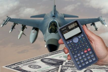 Jet fighter and calculator