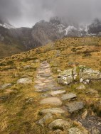The stone laid path around Llyn Idwal looking to the slabs