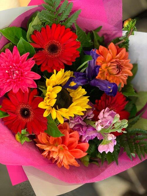 seasonal bright flowers bouquet