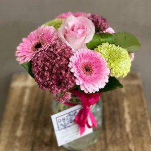 mini bouquet in a posy jar