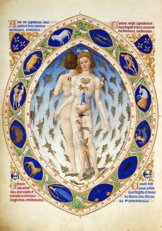 Der Mensch im Kosmos aus traditioneller Sicht. Stundenbuch des Duc de Berry, ca. 1413.
