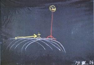 Rudolf Steiner, Wandtafelzeichnung: Golgatha, Vom Raum in die Zeit, 1924