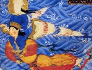Gabriel trägt Mohammed. Persische Miniatur, 14. Jahrhundert