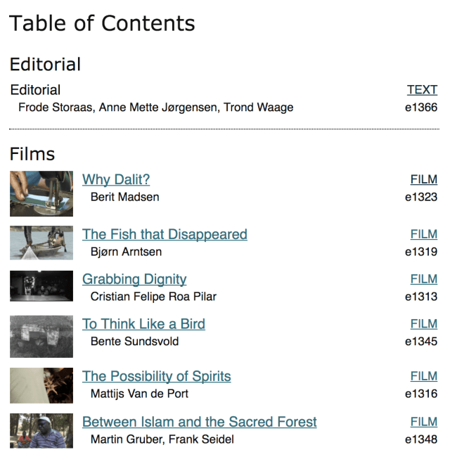 first issue of the journal of anthropological films