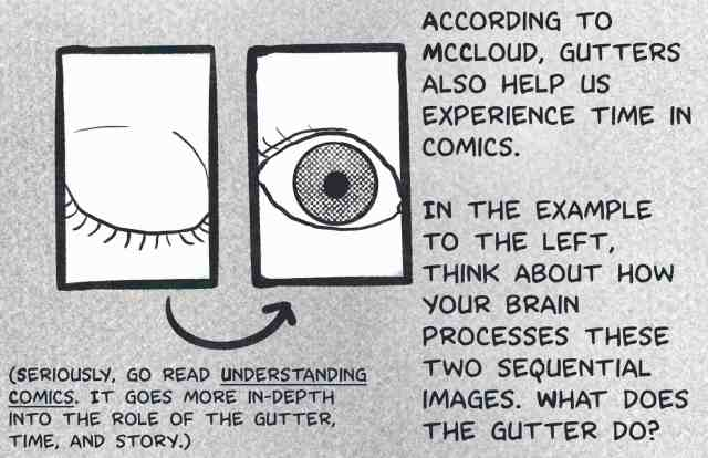 According to McCloud, gutters also help us experience time in comics. In the example to the left, think about how your brain processes these two sequential images. What does the gutter do? (The images are one closed eye, one open eye.)