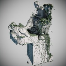 Beethoven rendering, with ivy and procedural textures.