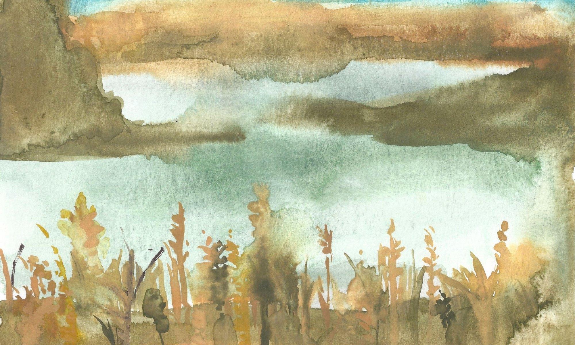 watercolor of river by Re McBride