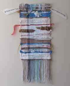 Weaving made of plastic bags, plastic gloves, and cotton string